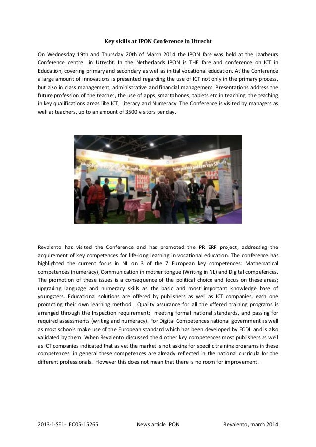 2013-1-SE1-LEO05-15265 News article IPON Revalento, march 2014 Key skills at IPON Conference in Utrecht On Wednesday 19th ...