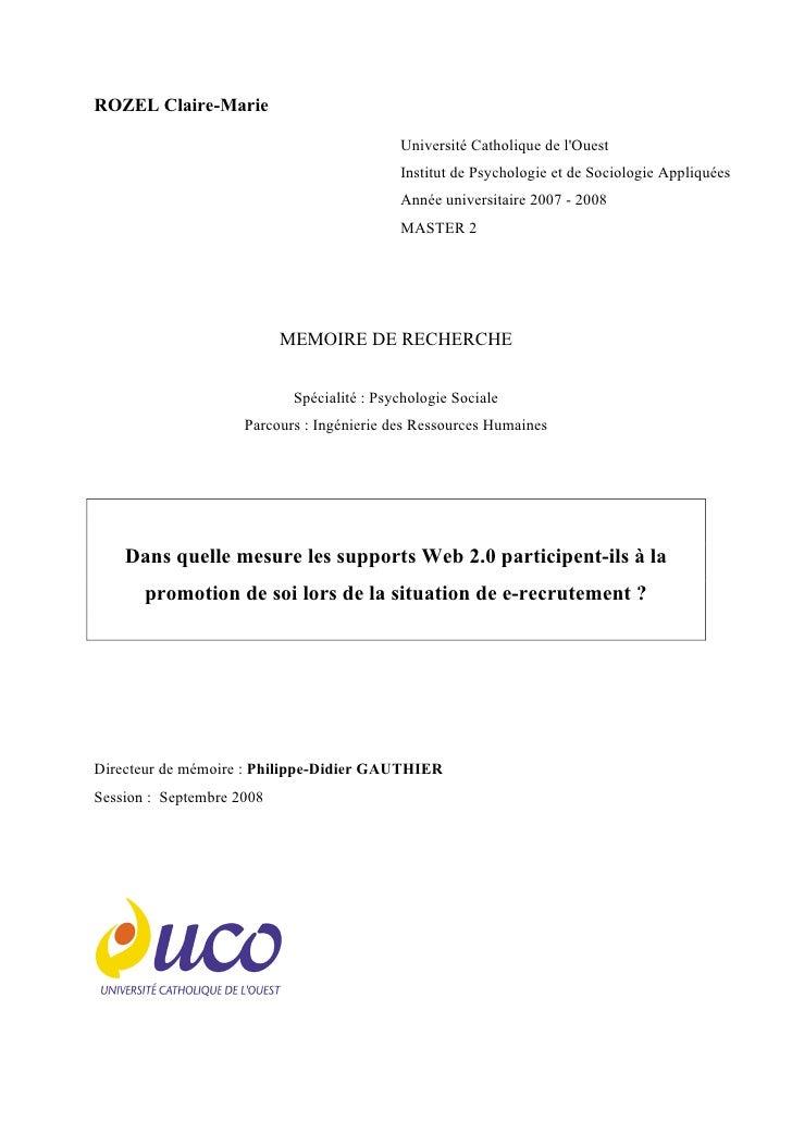 ROZEL Claire-Marie                                              Université Catholique de l'Ouest                          ...