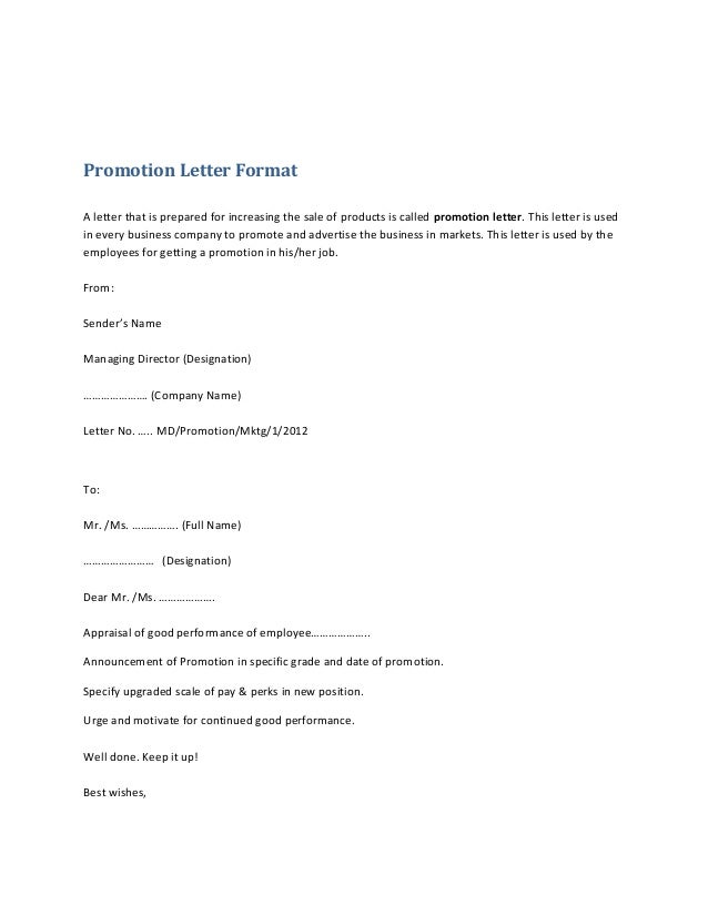 Promotion letter format 1 638gcb1382656586 promotion letter format a letter that is prepared for increasing the sale of products is called altavistaventures Image collections