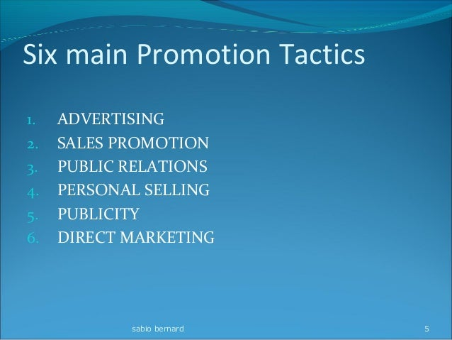 6 elements of promotional mix