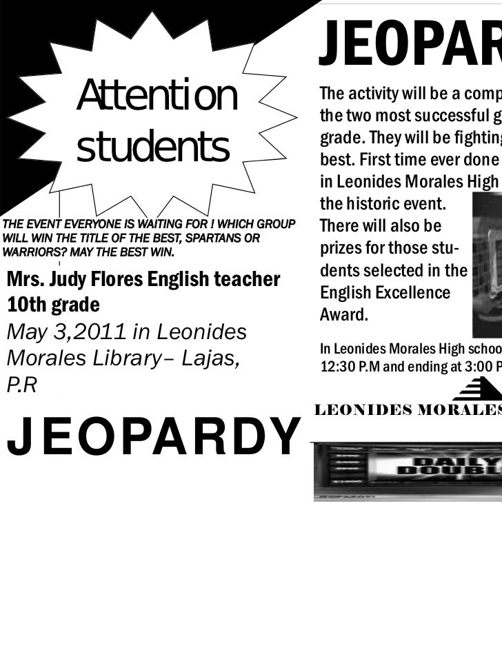 JEOPARDY           Attention                              The activity will be a competition between                      ...