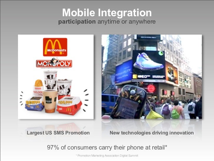 Mobile Integration             participation anytime or anywhere     Largest US SMS Promotion                    New techn...