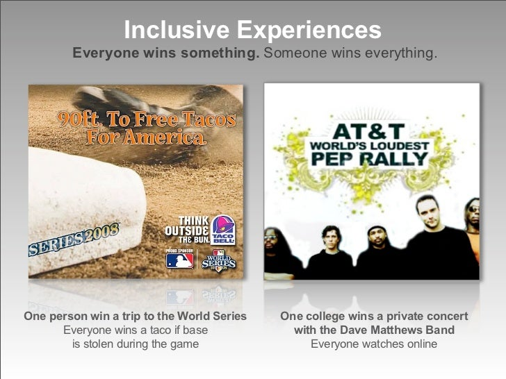 Inclusive Experiences         Everyone wins something. Someone wins everything.     One person win a trip to the World Ser...