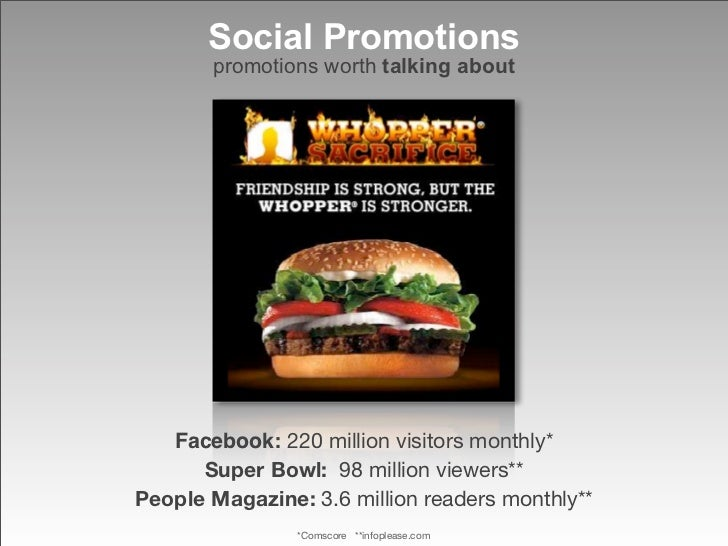 Social Promotions        promotions worth talking about        Facebook: 220 million visitors monthly*       Super Bowl: 9...