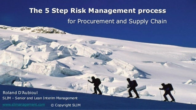 23/04/2014 1 The 5 Step Risk Management process © Copyright SLIM for Procurement and Supply Chain Roland D'Aubioul SLIM – ...