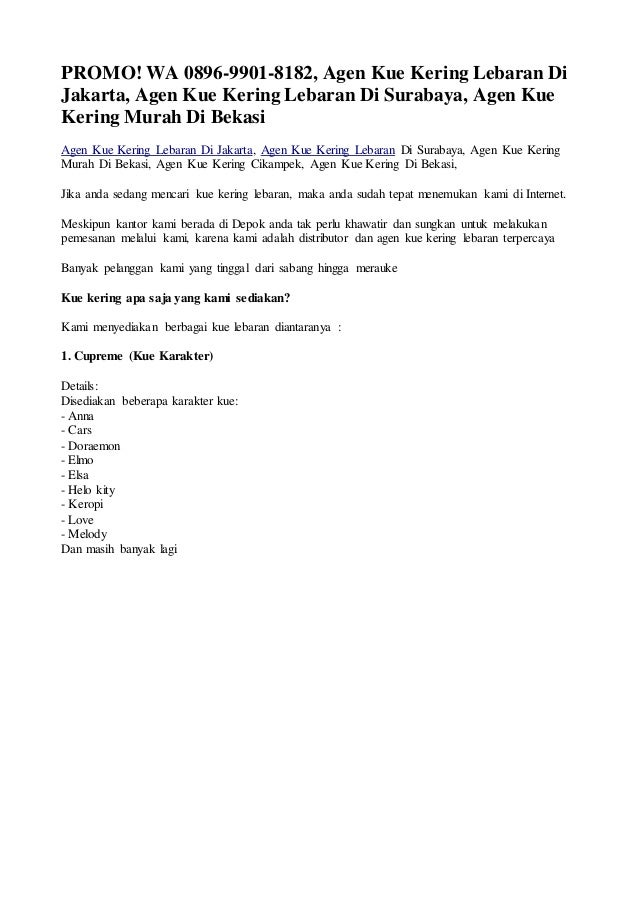 Promo Wa 0896 9901 8182 Agen Kue Kering Lebaran Di Jakarta Agen Ku