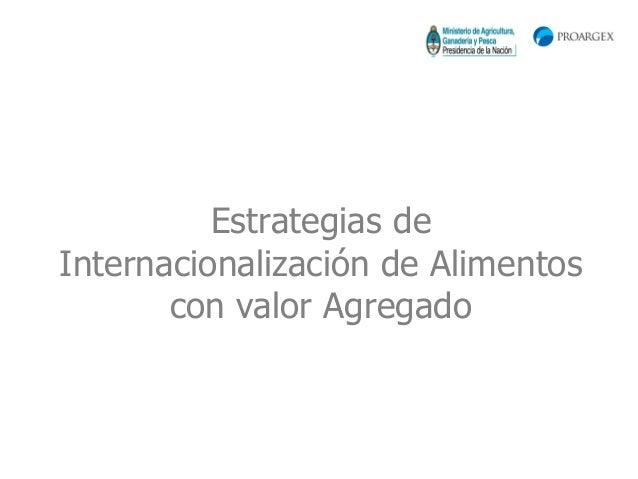 Estrategias deInternacionalización de Alimentos       con valor Agregado