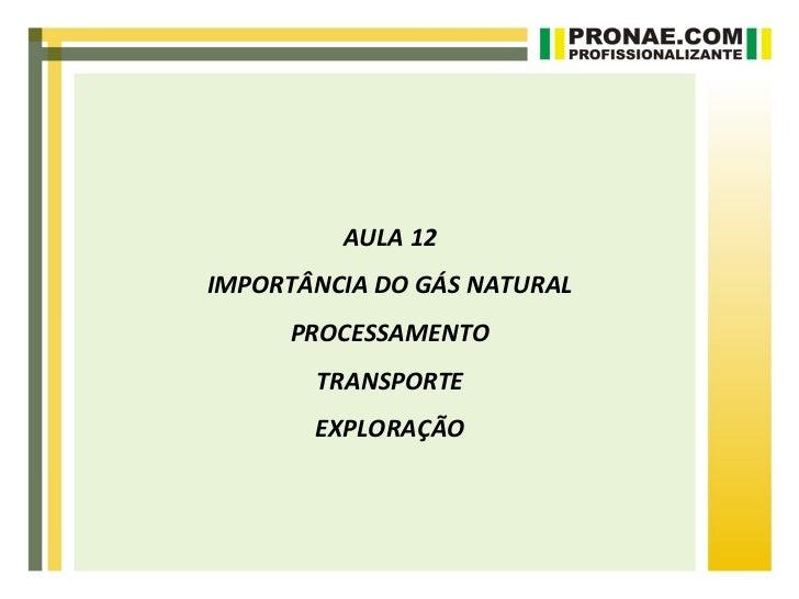 AULA 12IMPORTÂNCIA DO GÁS NATURAL     PROCESSAMENTO       TRANSPORTE       EXPLORAÇÃO