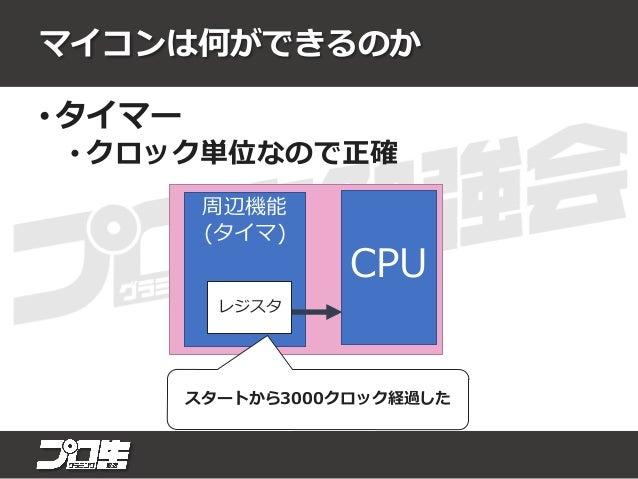 マイコンは何ができるのか • GPIO (General purpose Input/Output) • 任意の端子の入出力 CPU 5V 0V 入力は1 !! 0を出力!!
