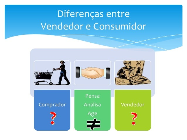 Diferenças entre Vendedor e Consumidor  Pensa Comprador  Analisa Age  Vendedor