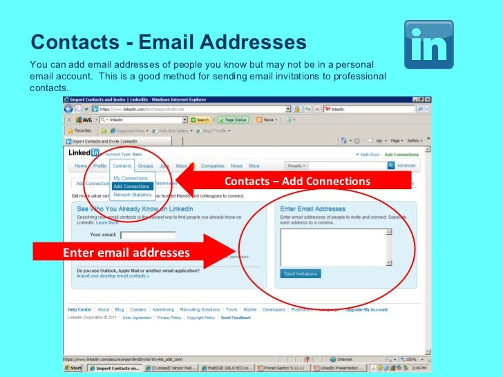 Contacts - Email Addresses You can add email addresses of people you know but may not be in a personal email account.  Thi...