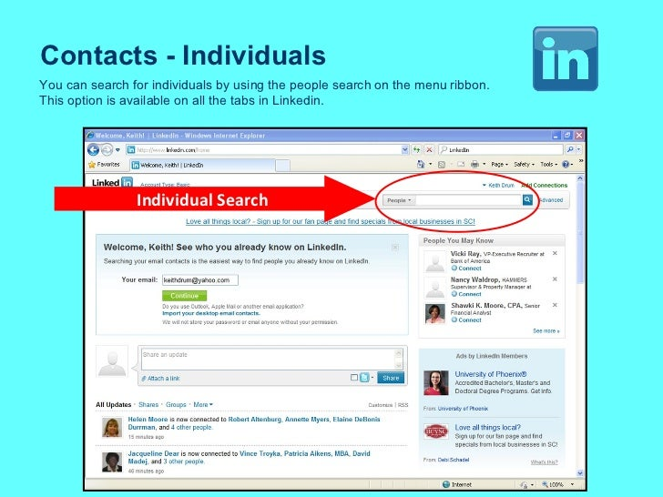 Contacts - Individuals Individual   Search You can search for individuals by using the people search on the menu ribbon. T...