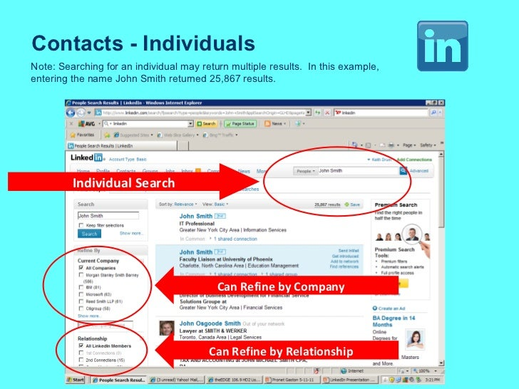 Contacts - Individuals Note: Searching for an individual may return multiple results.  In this example, entering the name ...