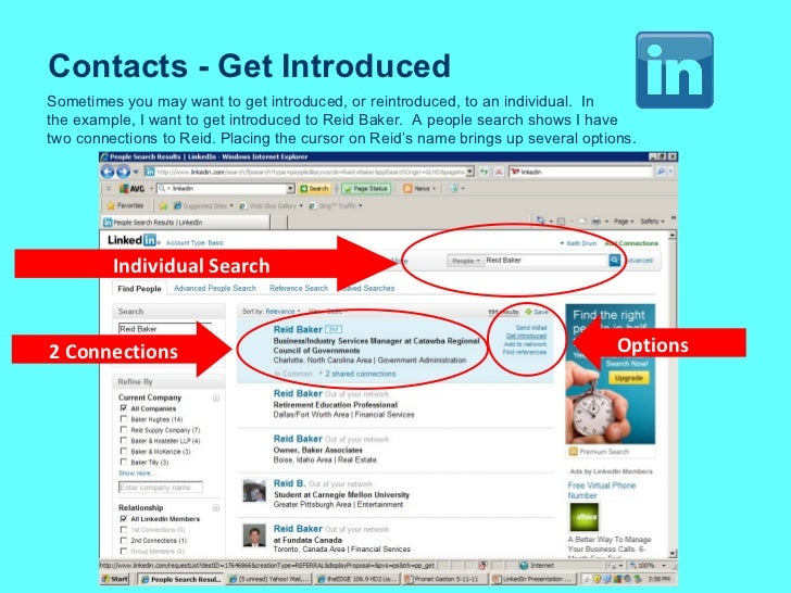 Contacts - Get Introduced Sometimes you may want to get introduced, or reintroduced, to an individual.  In the example, I ...