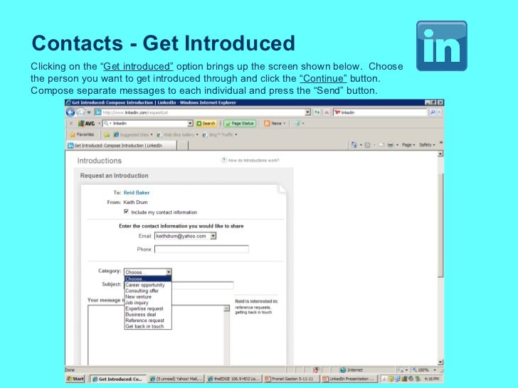 """Contacts - Get Introduced Clicking on the """" Get introduced""""  option brings up the screen shown below.  Choose the person y..."""