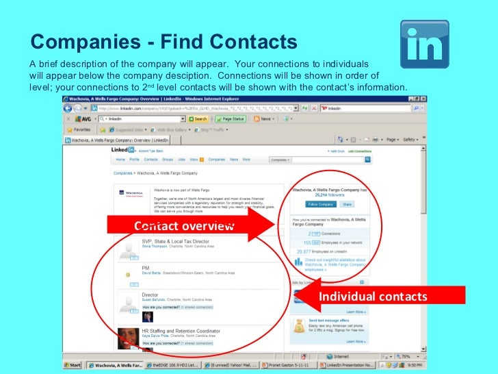 Companies - Find Contacts A brief description of the company will appear.  Your connections to individuals will appear bel...