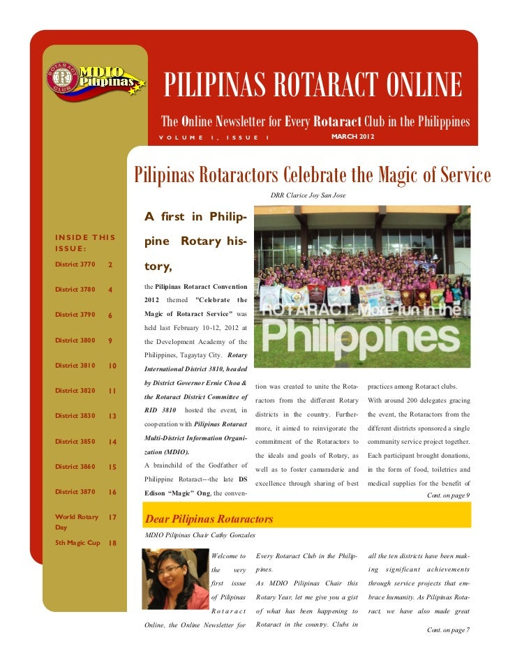 PILIPINAS ROTARACT ONLINE                             The Online Newsletter for Every Rotaract Club in the Philippines    ...