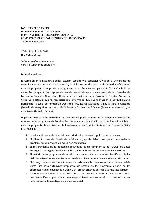 FACULTAD DE EDUCACIÓN ESCUELA DE FORMACIÓN DOCENTE DEPARTAMENTO DE EDUCACIÓN SECUNDARIA COMISIÓN COMPARTIDA ENSEÑANZA ESTU...