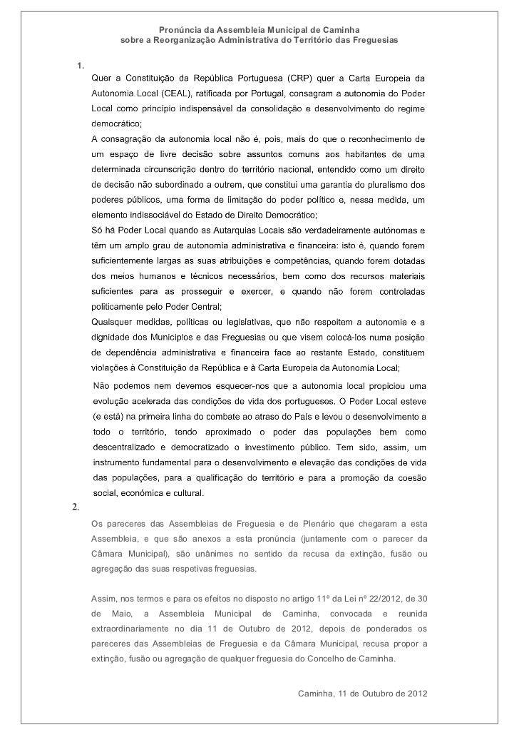 Pronúncia da Assembleia Municipal de Caminha             sobre a Reorganização Administrativa do Território das Freguesias...