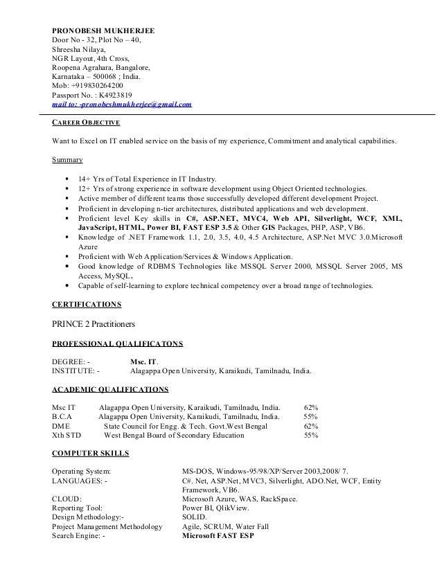 PRONOBESH MUKHERJEE Door No - 32, Plot No – 40, Shreesha Nilaya, NGR Layout, 4th Cross, Roopena Agrahara, Bangalore, Karna...