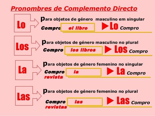 Resultado de imagem para los pronombres complemento de objeto directo y objeto indirecto