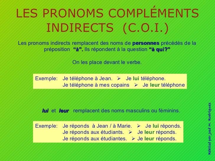 LES PRONOMS COMPLÉMENTS INDIRECTS  (C.O.I.) Les pronoms indirects remplacent des noms de  personnes  précédés de la prépos...