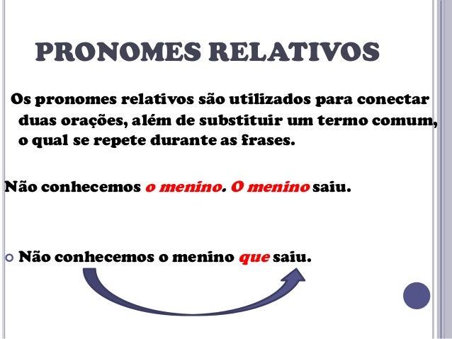 PRONOMES RELATIVOS Os pronomes relativos são utilizados para conectar duas orações, além de substituir um termo comum, o q...