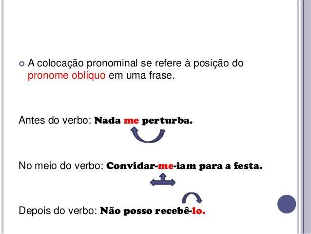   A colocação pronominal se refere à posição do pronome oblíquo em uma frase.  Antes do verbo: Nada me perturba.  No meio...