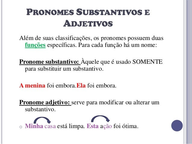 PRONOMES SUBSTANTIVOS E ADJETIVOS Além de suas classificações, os pronomes possuem duas funções específicas. Para cada fun...