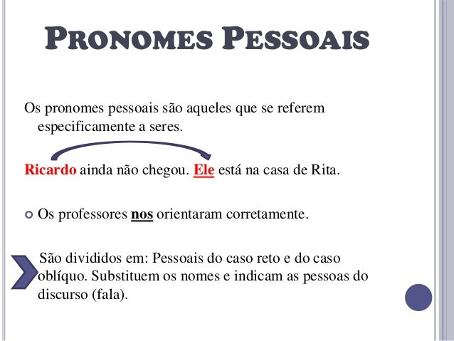 PRONOMES PESSOAIS Os pronomes pessoais são aqueles que se referem especificamente a seres.  Ricardo ainda não chegou. Ele ...