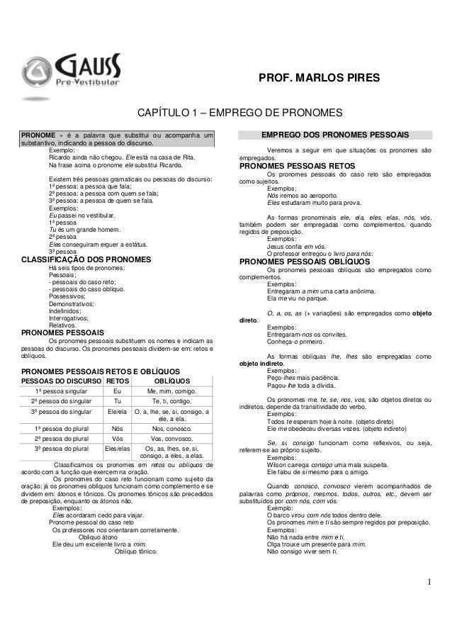 PROF. MARLOS PIRES 1 CAPÍTULO 1 – EMPREGO DE PRONOMES PRONOME » é a palavra que substitui ou acompanha um substantivo, ind...