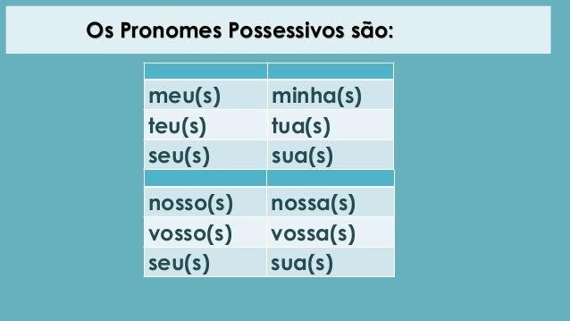 Pronomes possessivos Slide 3