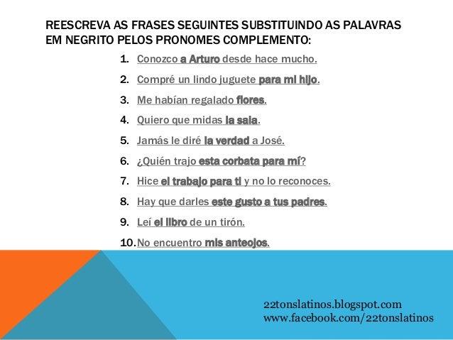 Pronomes átonos Em Espanhol