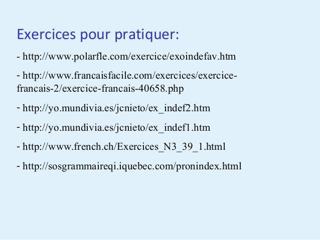 Pronoms Et Adjectifs Indefinis