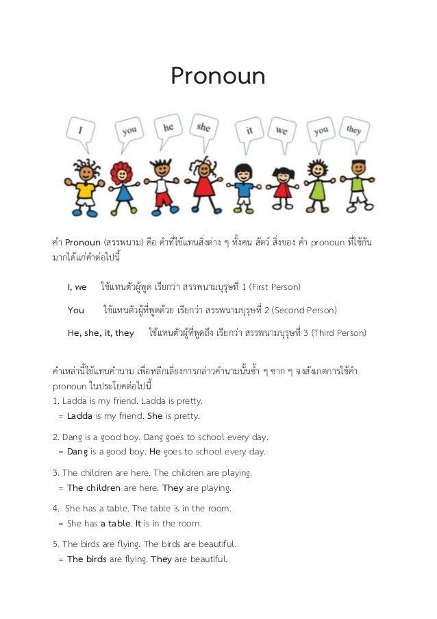 Pronoun คำ Pronoun (สรรพนำม) คือ คำที่ใช้แทนสิ่งต่ำง ...