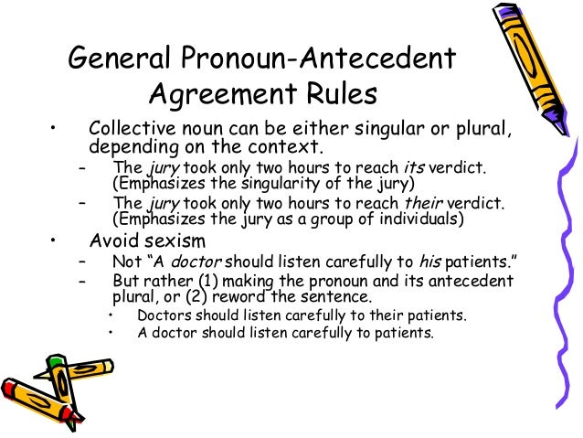 pronoun antecedent agreement Name _____ 1 chapter 8 practice quiz: pronouns i: pronoun agreement circle the pronoun that agrees in number with its antecedent (the noun to which it refers.