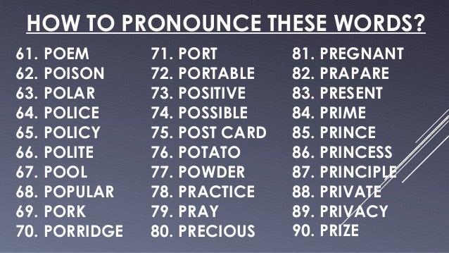 Pronunciation (Practice)