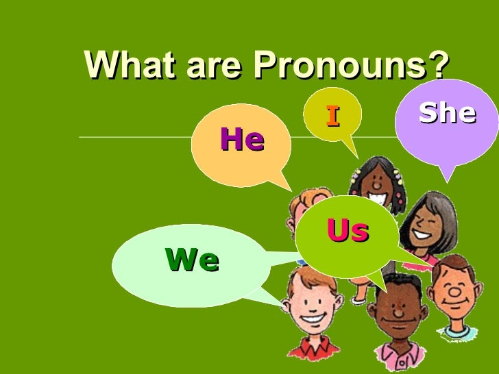 What are Pronouns?  I He She We We Us