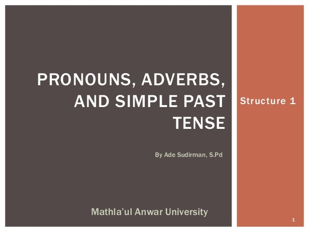 Structure 1 By Ade Sudirman, S.Pd 1 Mathla'ul Anwar University PRONOUNS, ADVERBS, AND SIMPLE PAST TENSE