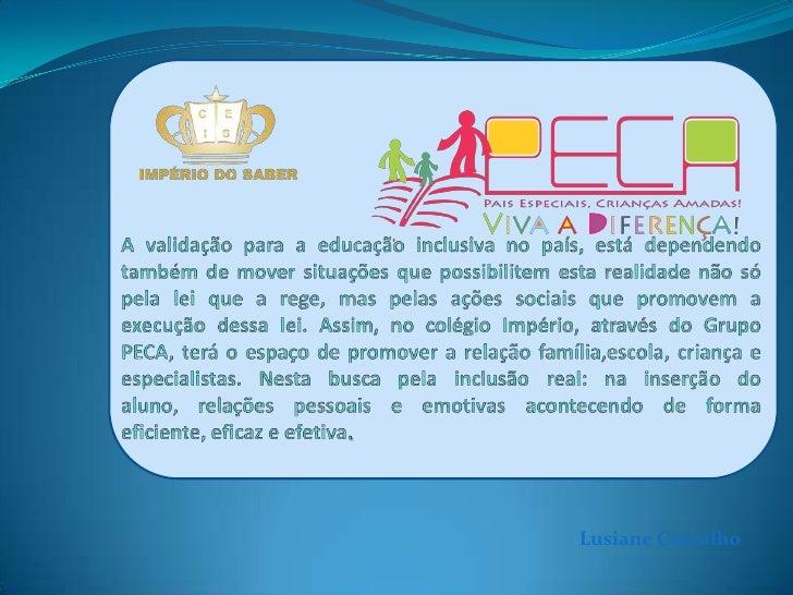 A validação para a educação inclusiva no país, está dependendo também de mover situações que possibilitem esta realidade n...