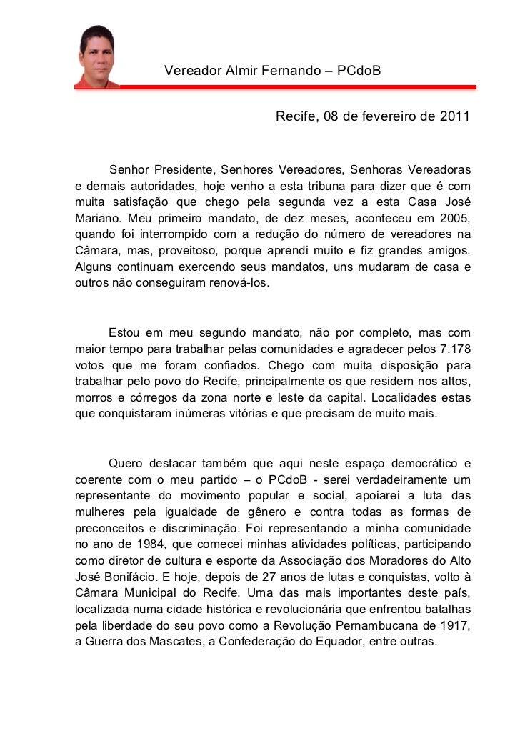 Vereador Almir Fernando – PCdoB                                    Recife, 08 de fevereiro de 2011      Senhor Presidente,...