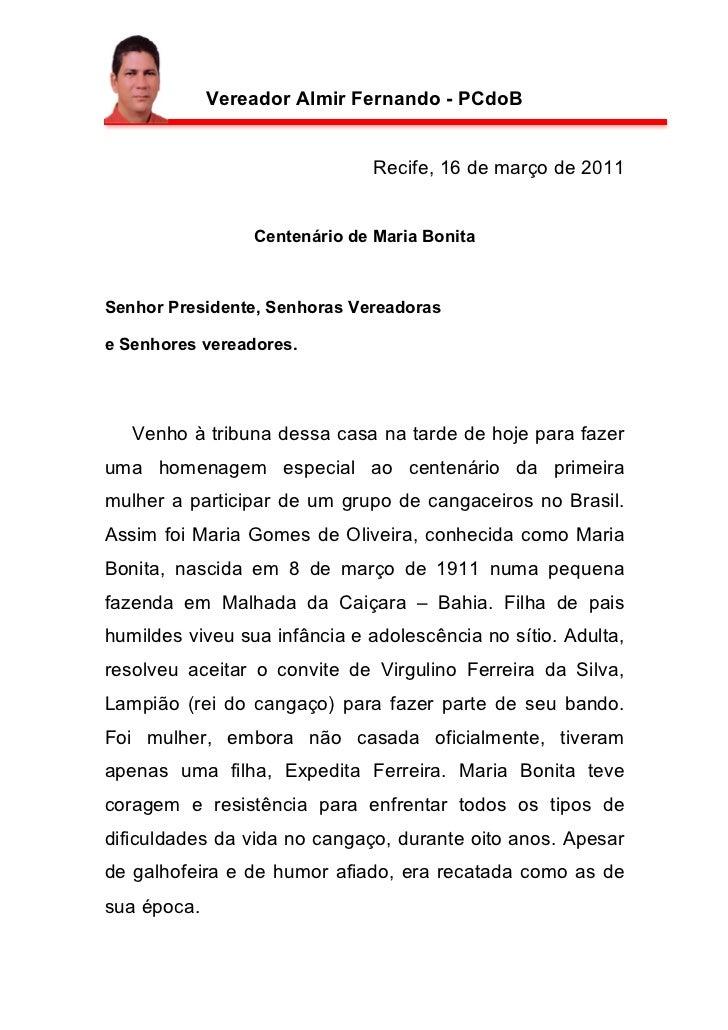Vereador Almir Fernando - PCdoB                               Recife, 16 de março de 2011                 Centenário de Ma...