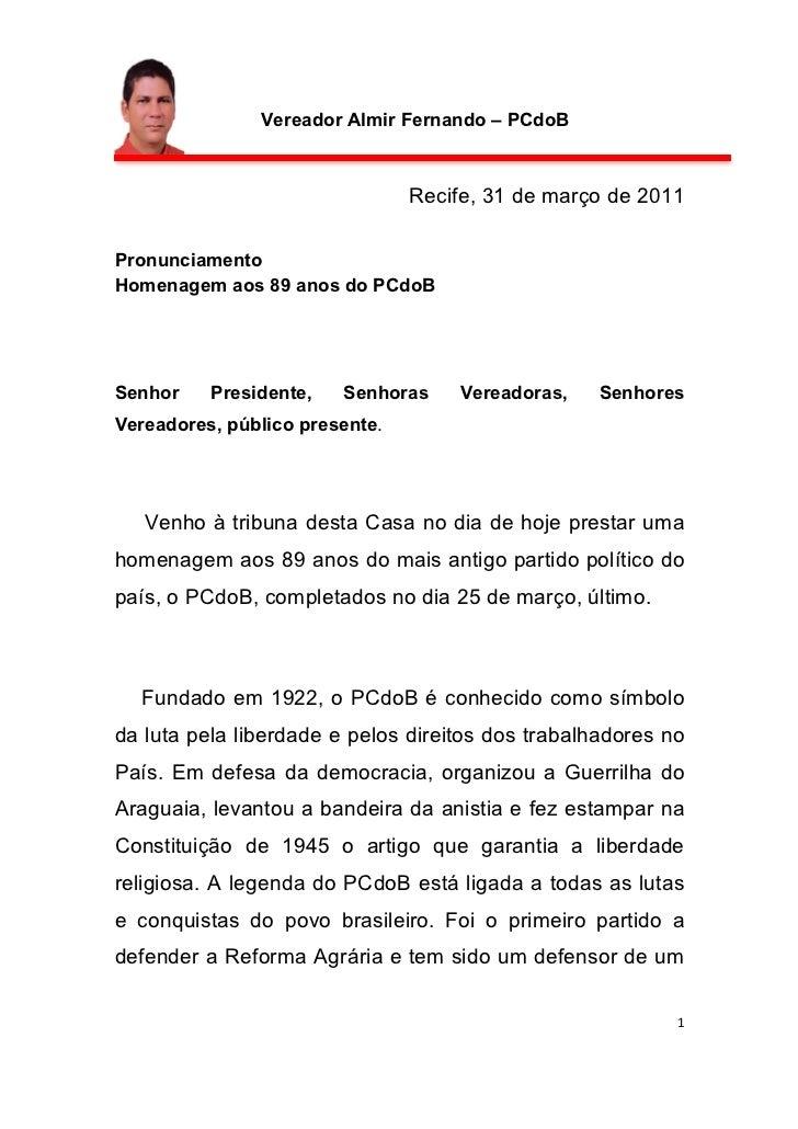 Vereador Almir Fernando – PCdoB                                 Recife, 31 de março de 2011 Pronunciamento  Homenagem ...