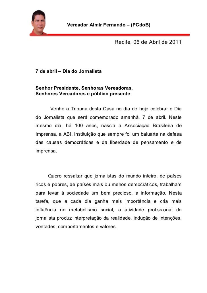 Vereador Almir Fernando – (PCdoB)                                    Recife, 06 de Abril de 20117 de abril – Dia do Jornal...