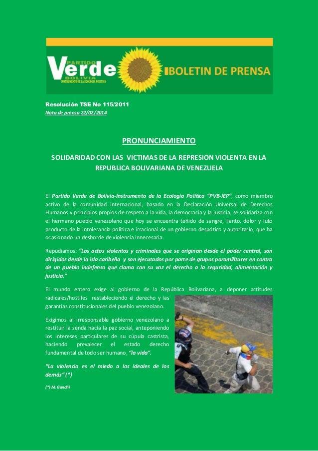 Resolución TSE No 115/2011 Nota de prensa 22/02/2014  PRONUNCIAMIENTO SOLIDARIDAD CON LAS VICTIMAS DE LA REPRESION VIOLENT...