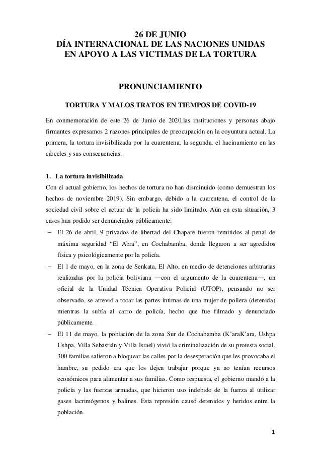 26 DE JUNIO DÍA INTERNACIONAL DE LAS NACIONES UNIDAS EN APOYO A LAS VICTIMAS DE LA TORTURA PRONUNCIAMIENTO TORTURA Y MALOS...