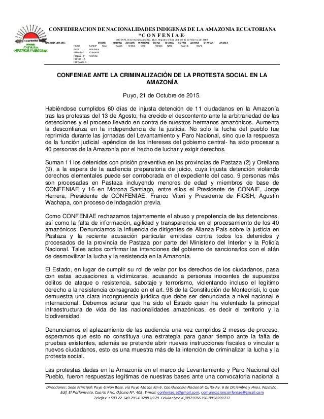 """CONFEDERACION DE NACIONALIDADES INDIGENAS DE LA AMAZONIA ECUATORIANA """"C O N F E N I A E"""" CODENPE, Decreto ejecutivo No. 14..."""