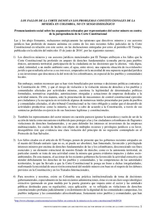 PRONUNCIAMIENTO SOBRE LOS ARGUMENTOS DEL SECTOR MINERO EN CONTRA DE LA CORTE CONSTITUCIONAL 1 LOS FALLOS DE LA CORTE DENOT...
