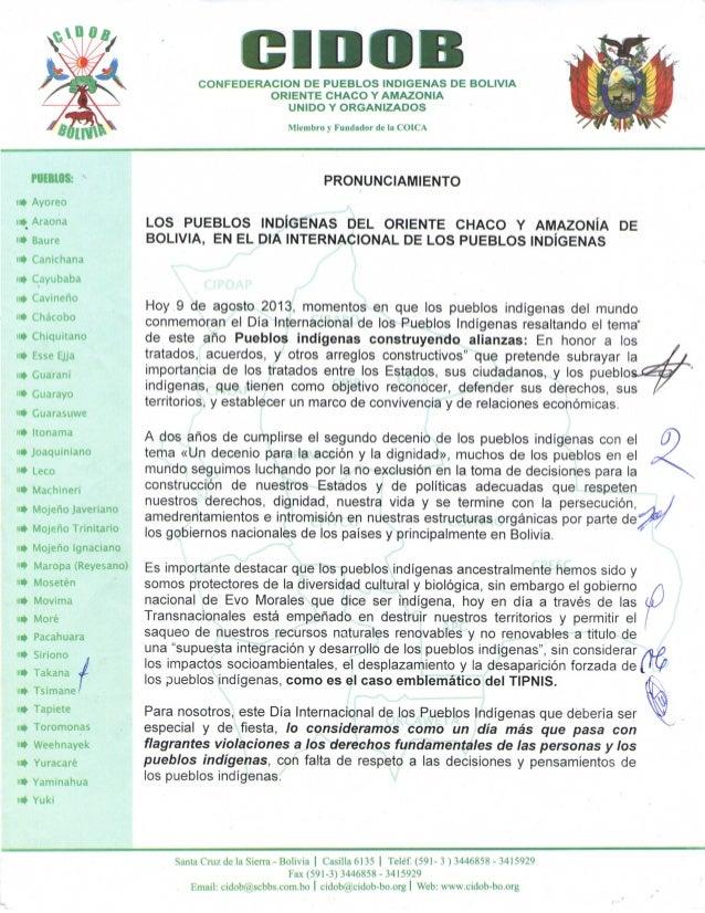C I D O BCONFEDERACION DE PUEBLOS INDIGENAS DE BOLIVIA ORIENTE CHACO Y AMAZONIA UNIDO Y ORGANIZADOS Miembro y Fundador de ...