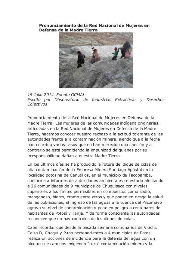 Pronunciamiento de la Red Nacional de Mujeres en Defensa de la Madre Tierra 15 Julio 2014. Fuente OCMAL Escrito por Observ...